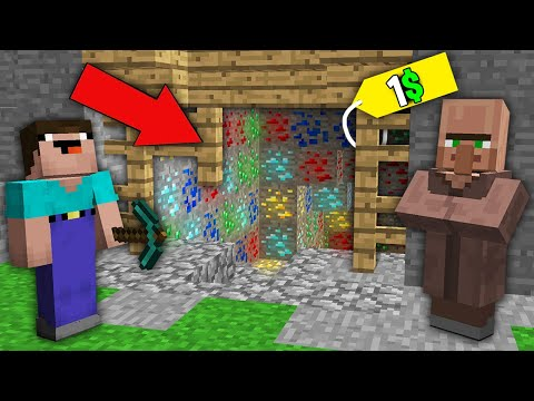 Minecraft NOOB Vs PRO: WHY VILLAGER SELL TREASURE MINE NOOB FOR 1$? Challenge 100% Trolling