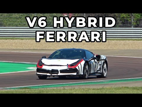 NEW HYBRID V6 FERRARI GOING FLAT OUT ON THE TRACK