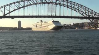 cruise ship Ooserdam passes under sydney harbour bridge