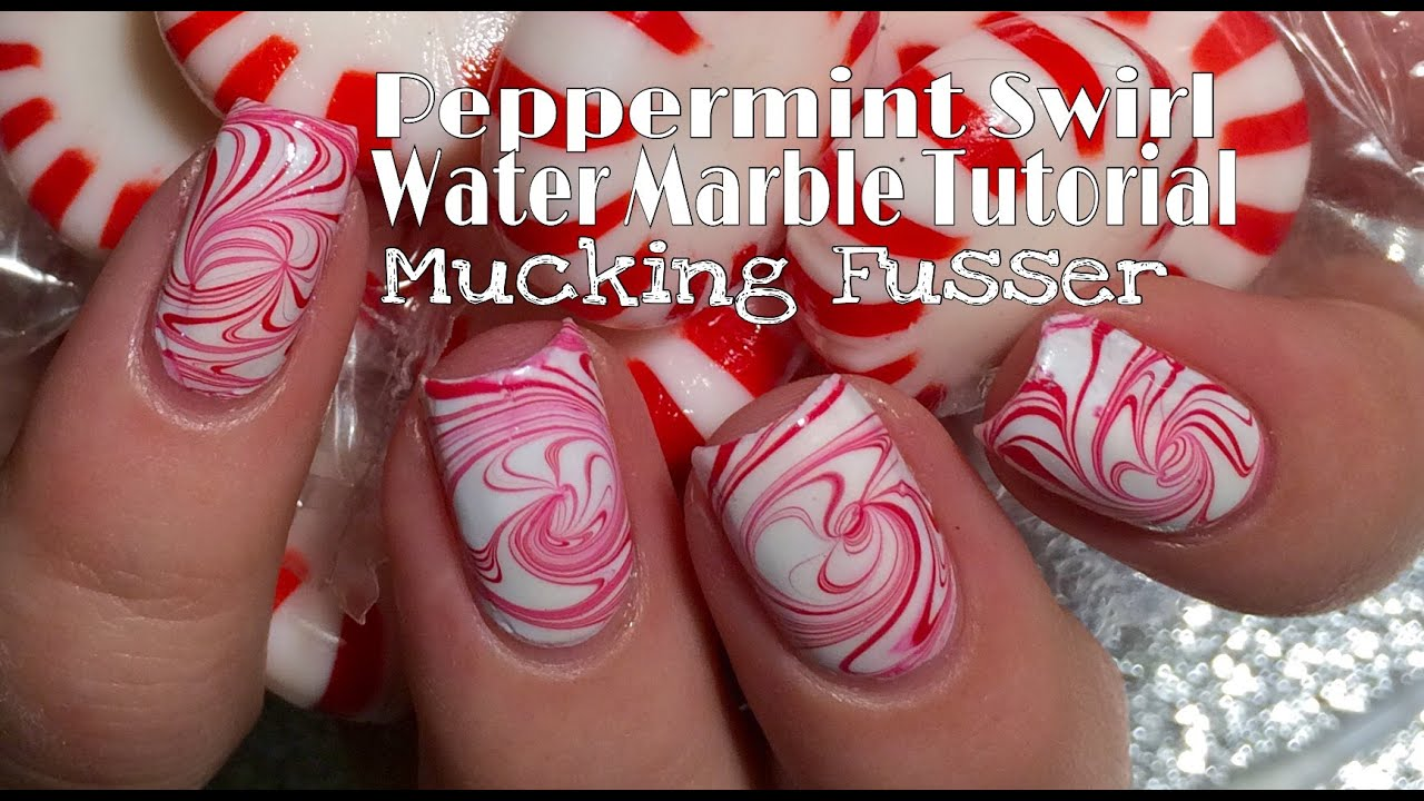 Peppermint Swirl Candy Water Marble Nail Art Tutorial - YouTube