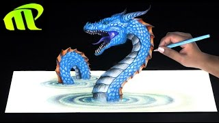 Drawing a 3D Loch Ness Monster - Anamorphic Illusion | Trick Art