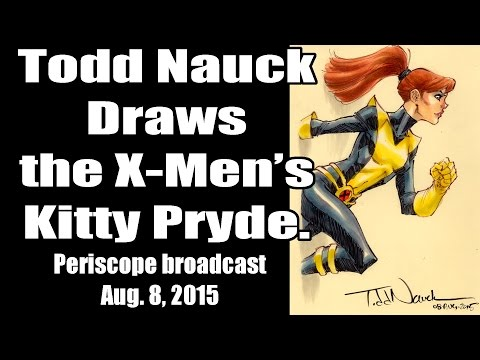 Todd Nauck draws the X-Men's Kitty Pryde. Periscope broadcast.