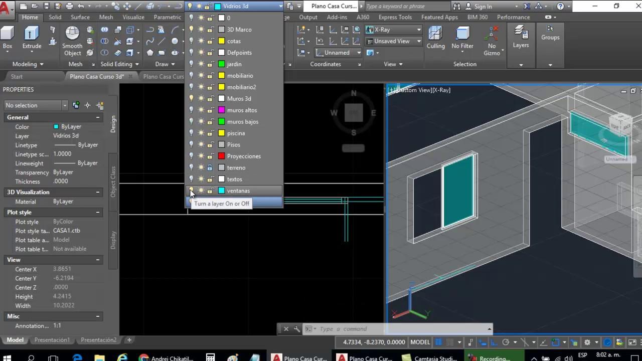 Curso autocad 3d dibujar plano de casa en 3d parte 8 - Dibujar planos de casas ...