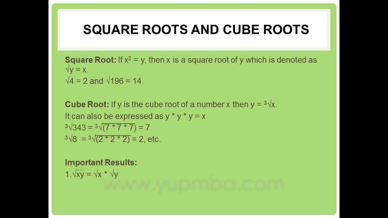 square and cube roots pdf