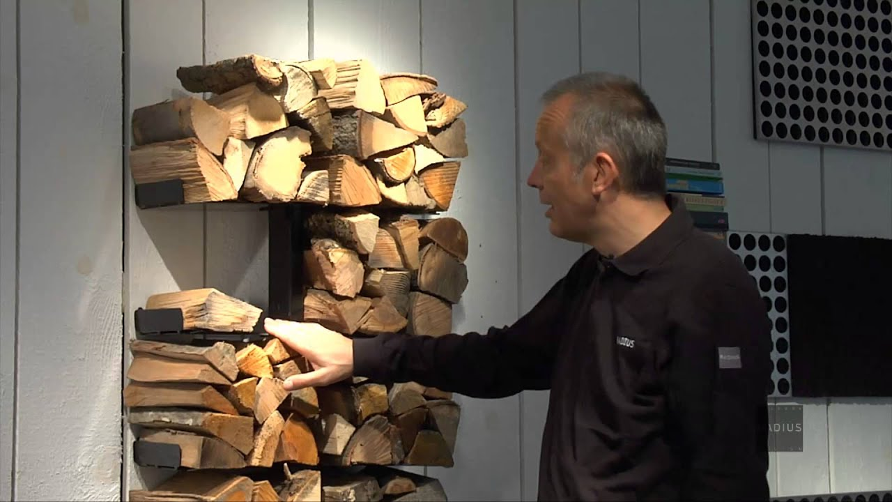 Feuerholzregal wooden tree radius design youtube - Kaminholz wandregal ...