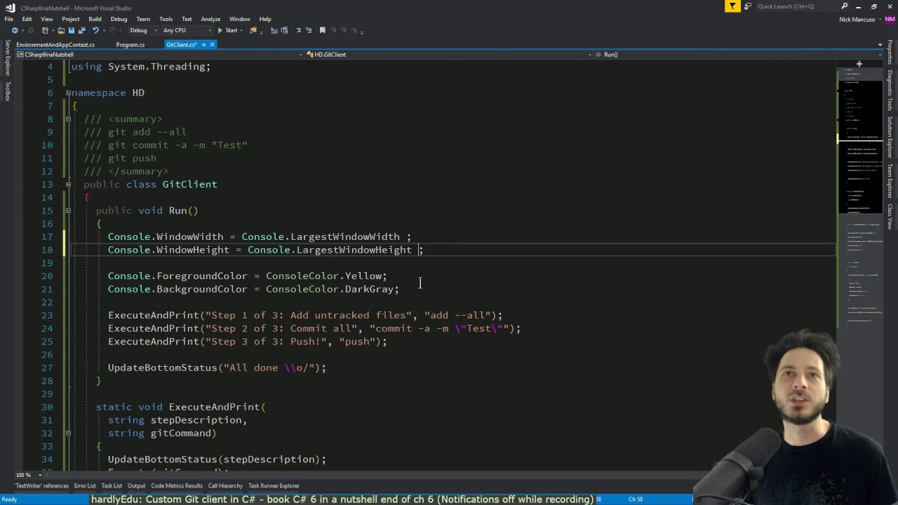 C# Git Client using Process: C# 6 in a Nutshell (HardlyEdu: Ch 6)