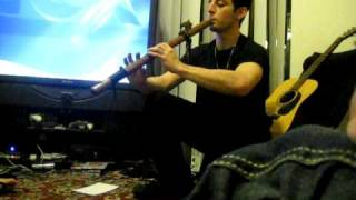 Playing an indian wood flute