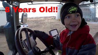 Little Farm Kid Drives Big John Deere Tractor!