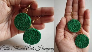 Silk Thread Ear Hanging | Handmade Earring Ideas | DIY | How To Make Thread Earrings At Home