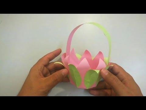 Tutorial : Canasta de Papel Origami - paper basket making - Diy paper basket