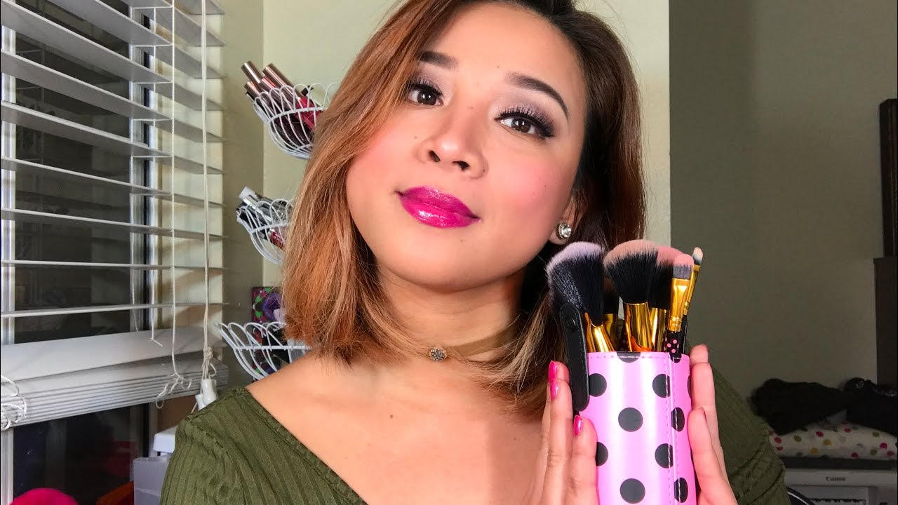 1bc5ded113cd BH cosmetics pink a dot 11 piece brush set review and try on ...