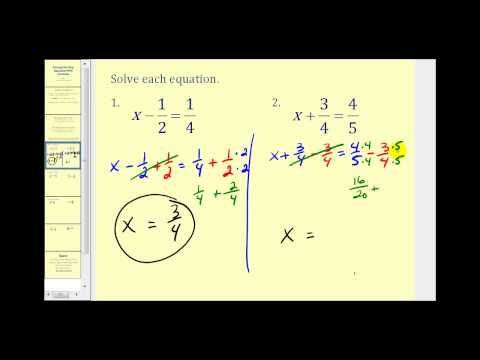 Solving One Step Equations Involving Fractions - YouTube
