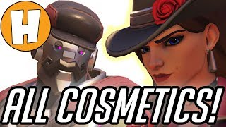 Overwatch -ALL Ashe Skins, Sprays, Emotes and Highlight Intros! | Hammeh