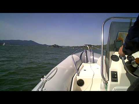 Zodiac Pro Open Rigid Inflatable Hull RIB Boat at Full Thottle in the San Francisco Bay