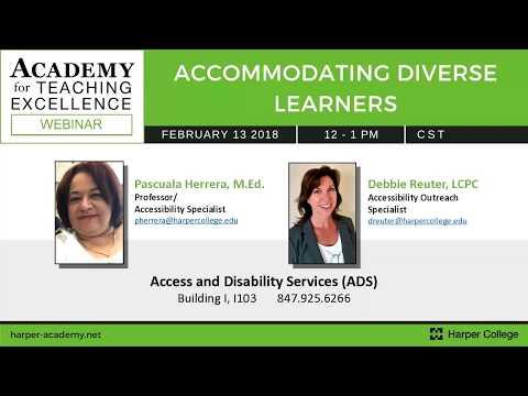Accommodating Diverse Learners Webinar