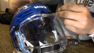 HOW TO put a Bauer concept 3 fishbowl on a CCM resistance 300 Helmet