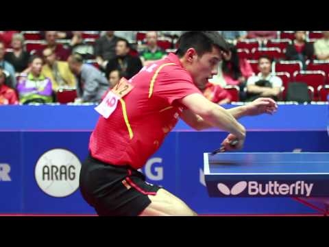 Zhang Jike backhand over the table