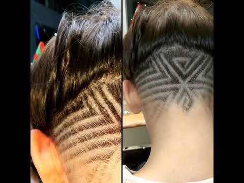 undercut hair tattoo for girls