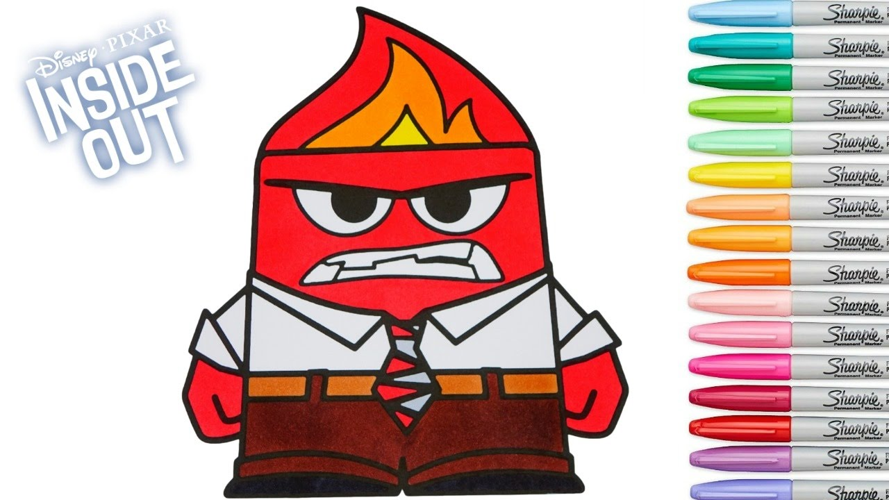 Inside Out Coloring Book Anger Colouring Pages Disney Pixar