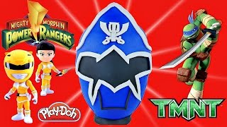 Giant Blue POWER RANGERS Surprise Play Doh Mighty Morphin Egg Teenage Mutant Ninja Turtles Minions