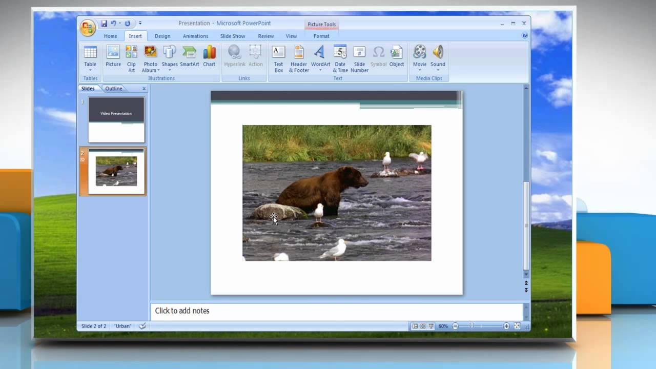 Microsoft� Powerpoint 2007: How To Insert A Movie Into Presentation On  Windows� Xp