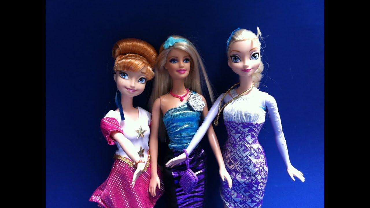 Búp Bê Barbie Thay đổi váy dạ hội cùng Công Chúa Disney (Bí Đỏ) Barbie's Dress-up party  Elsa Anna