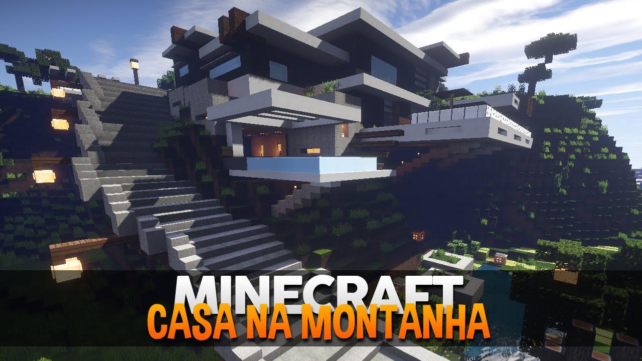Minecraft casa na montanha moderna by makapuchii youtube for Casa moderna minecraft ita download