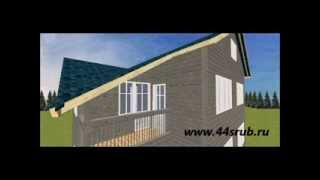 Смежный дом из бруса на две семьи, проект