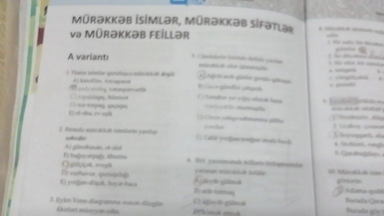 AZƏRBAYCAN DILI 5 sinif dim testi 222.223 səhifə