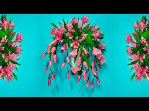 cara membuat bunga anggrek hiasan dinding dari plastik kresek | DIY wall hanging craft