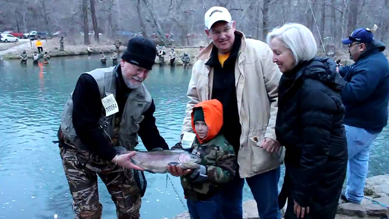 First Lunker Caught on Opening Day of Trout Season 2010 at Montauk State Park Missouri - YouTube