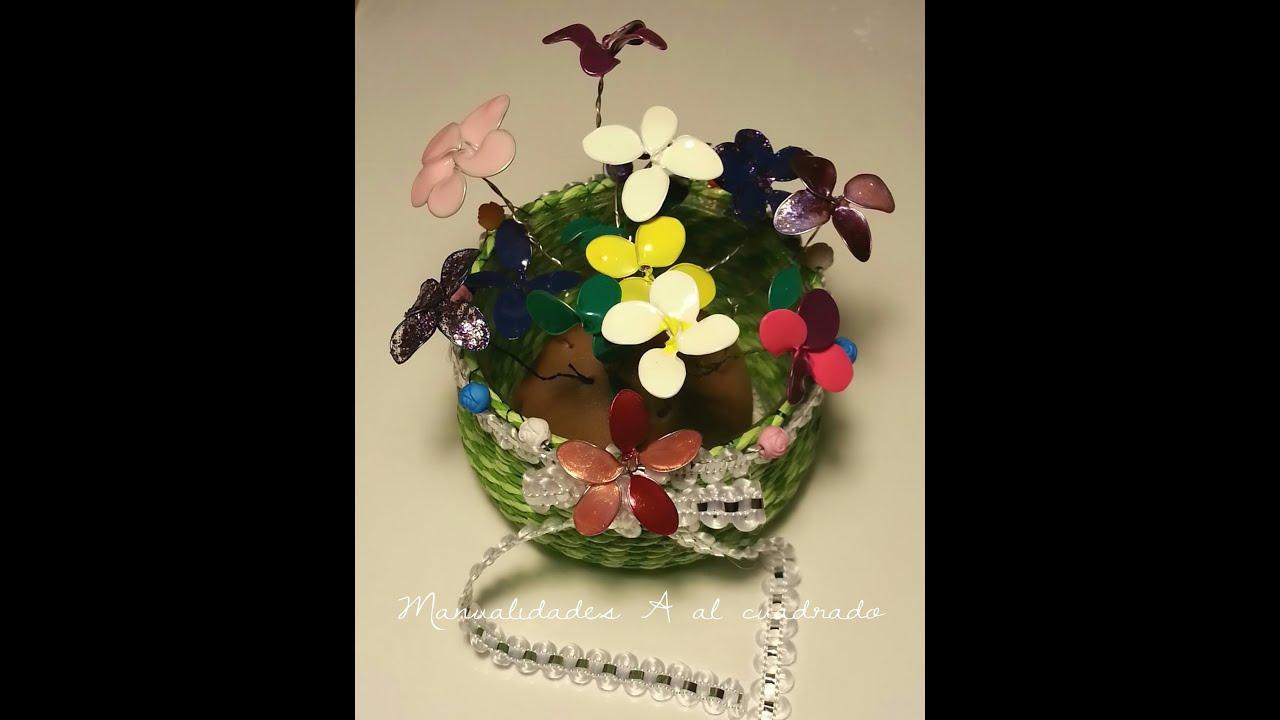 Tutorial Maceta con flores hechas con alambre y esmalte / Tutorial Flowers wire and nail polish. , YouTube
