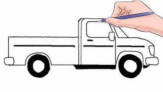 How to Draw a Pickup Truck Easy Step by Step