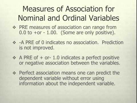 Tests of Significance and Measures of Association for Nominal and Ordinal Variables