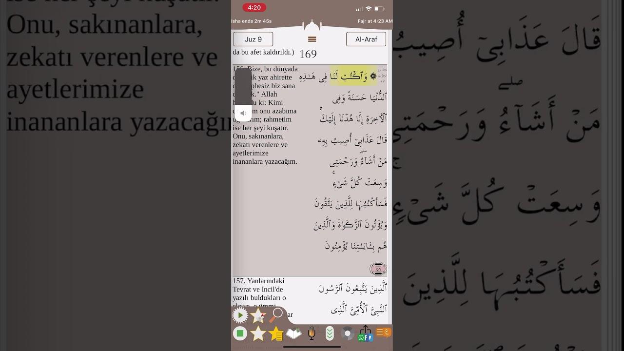 Kuranı Kerim Meali 169.Sayfa Araf Suresi 156-159 Ayetler