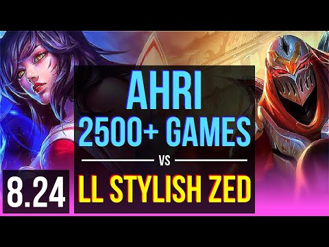 AHRI vs LL Stylish ZED (MID) | 2500+ games, KDA 11/3/7 | NA Master | v8.24