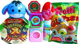 다양한 장난감들, 눈알젤리, 세탁기, 공룡메카드, 퍼피러브, 보물찾기,디즈니저금통, 동물농장, various toys