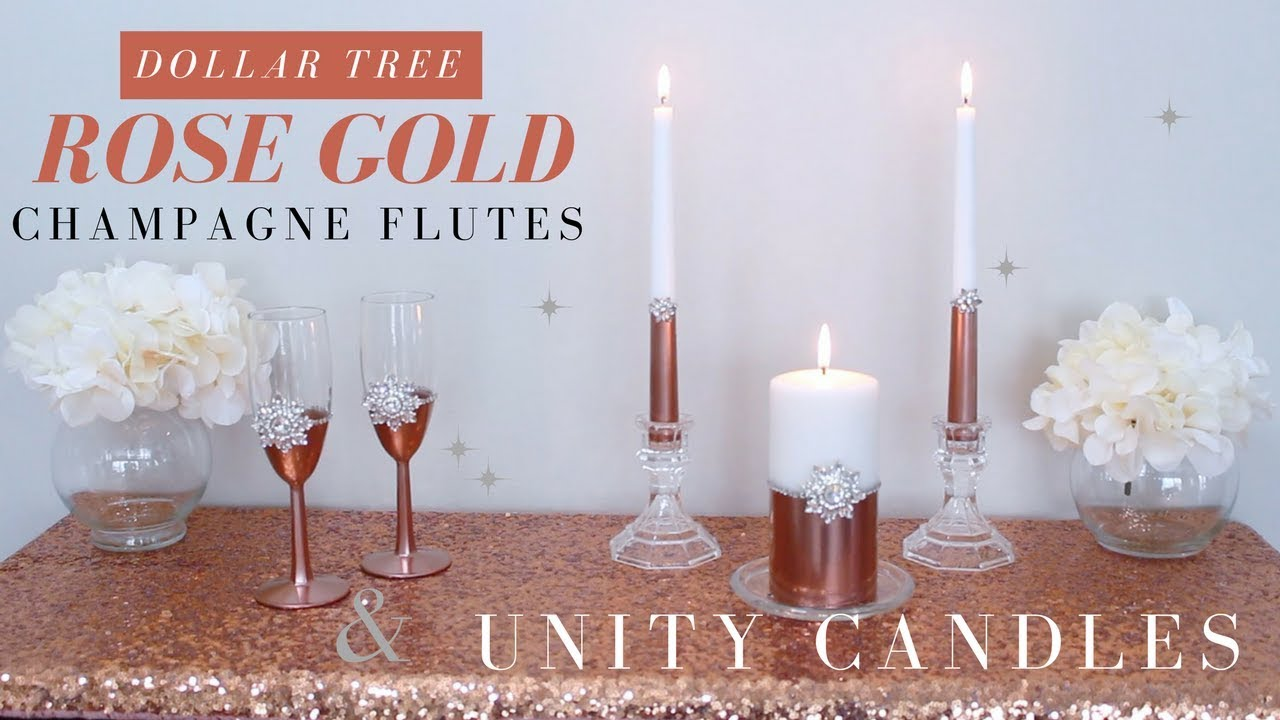 Diy Wedding Champagne Flutes Unity Candles Rose Gold Wedding