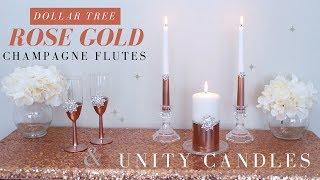 DIY Wedding Champagne Flutes & Unity Candles| Rose Gold Wedding Decoration Ideas