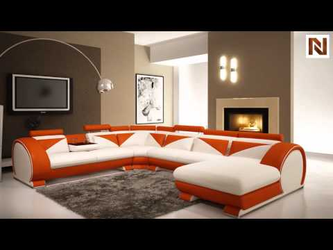 modern white and orange leather sectional sofa with headrests vgev73951 from vig furniture - Vig Furniture