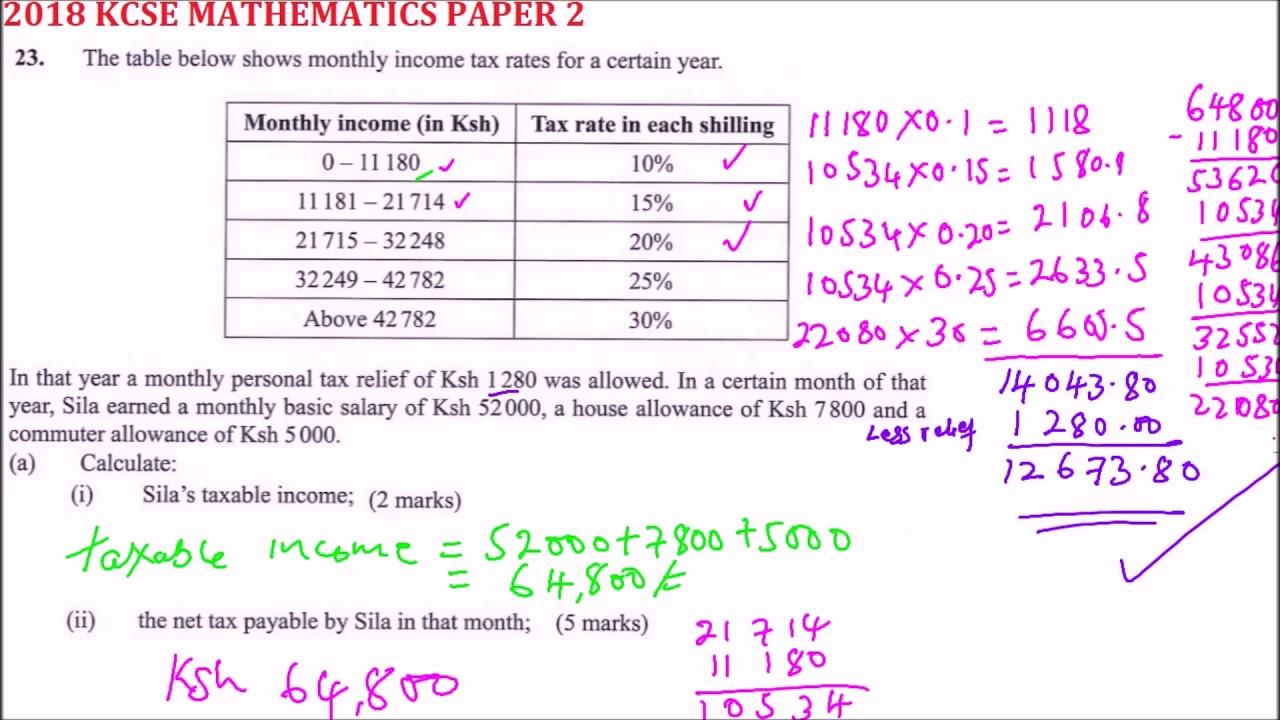 kcse 2018 maths paper2 question 23 - YouTube