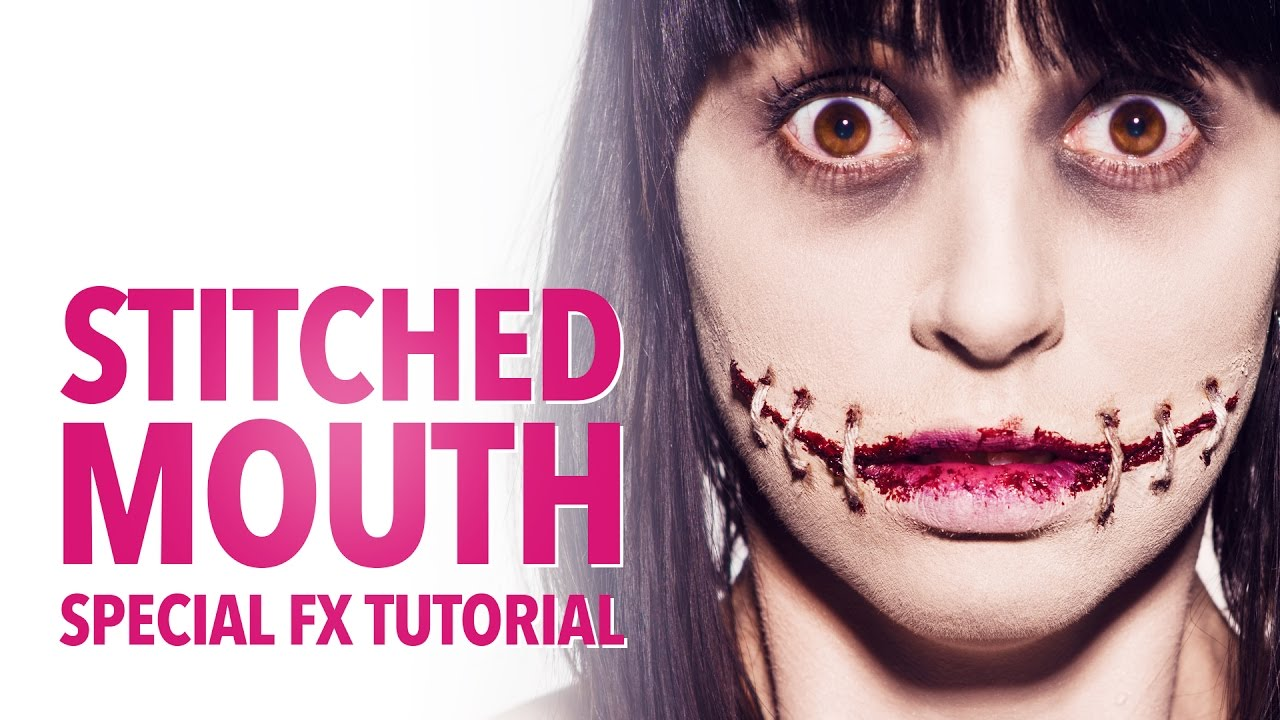 Stitched mouth halloween makeup tutorial - YouTube