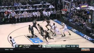 Denzel valentine finished with 15 points to help lead michigan state past purdue 66-62 win the big ten tournament championship.