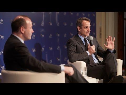 Συζήτηση Κυριάκου Μητσοτάκη και Μάνφρεντ Βέμπερ στη Συνεδρίαση του Προεδρείου του ΕΛΚ στην Αθήνα