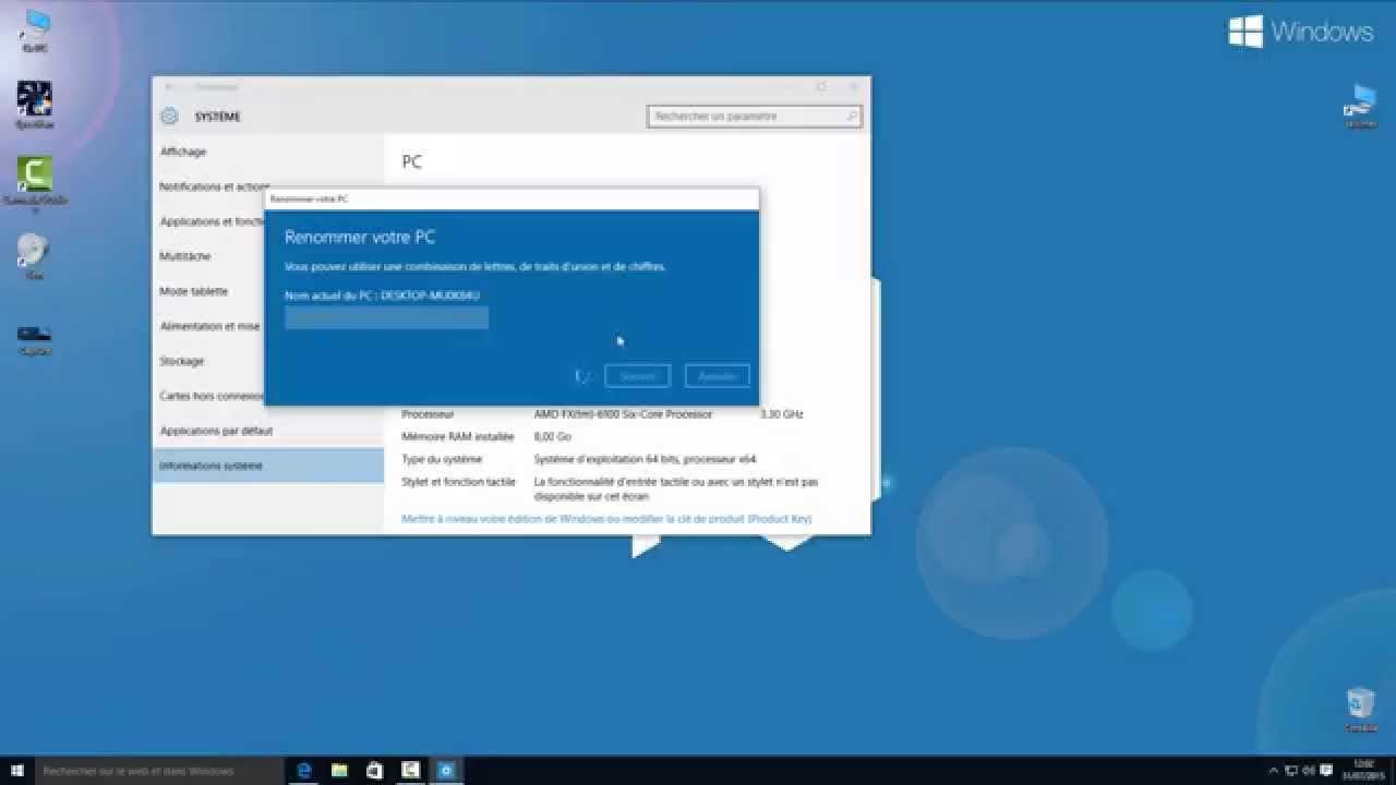 Tuto Windows 10 - Changer le nom du PC - YouTube 0d45e4053d1e