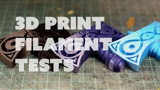 Prop: Shop - 3D Printer Filament Tests for Prop Making(Bill sits down with Joel the 3D Printing Nerd to do some tests on different types of 3D printing filament to see which is best for prop making. Subscribe to Joel's ..., 2016-05-30T16:00:04.000Z)