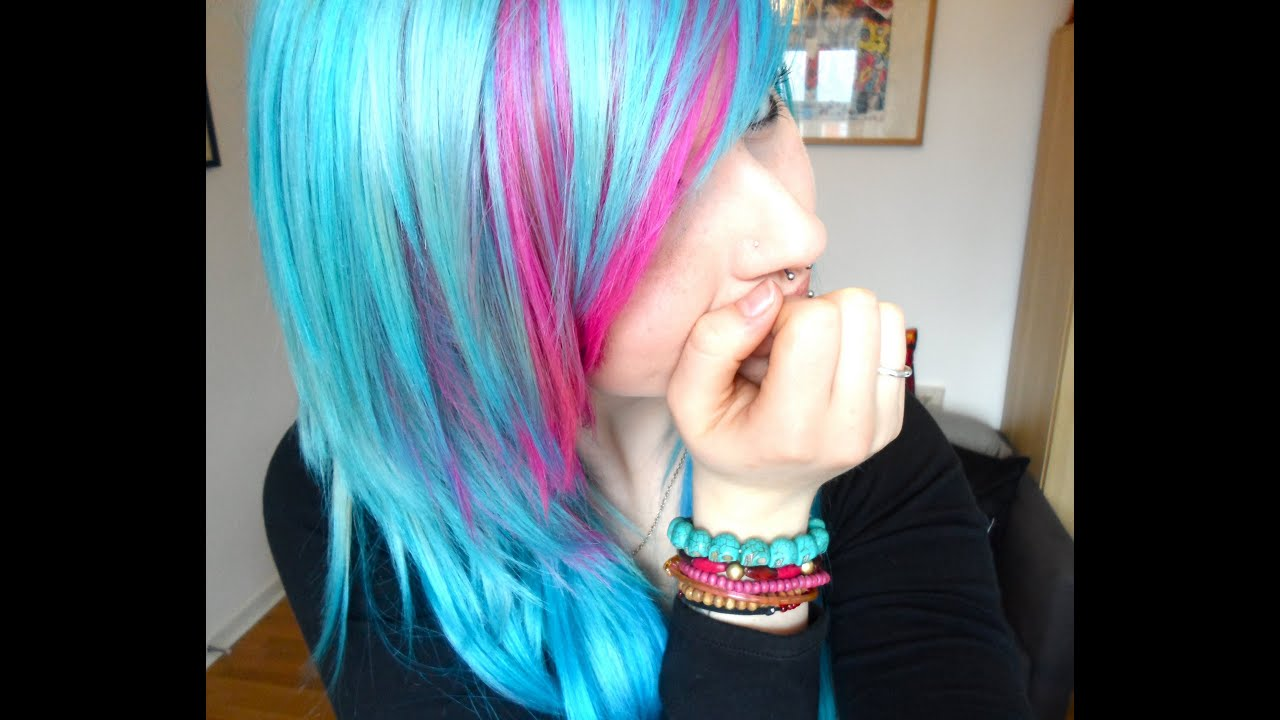 hair dying turquoise pink