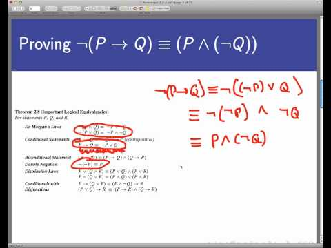 Logical equivalence without truth tables  (Screencast 2.2.4)