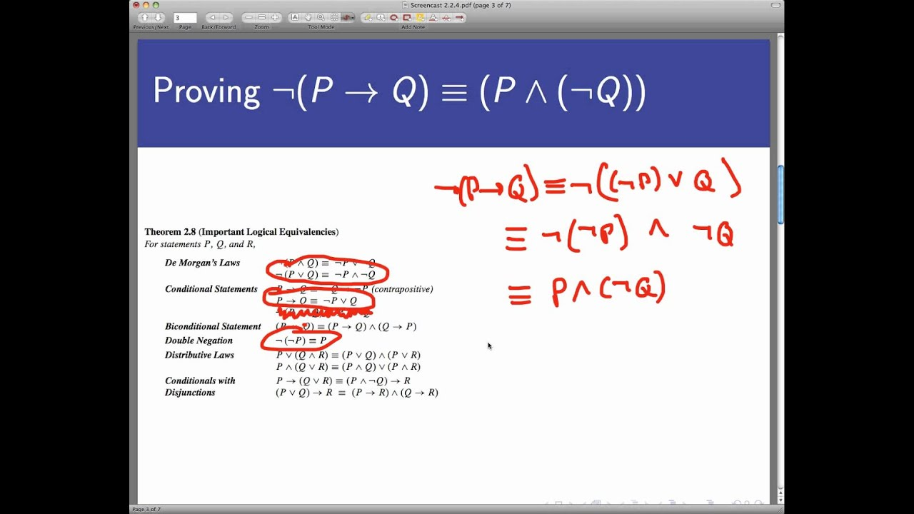 Logical Equivalence Without Truth Tables Screencast 224