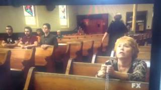 Charlie freaking in church. It's always sunny